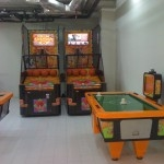 The 2 basketball machines at the game zone