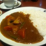 Vegetable curry with side of tuna