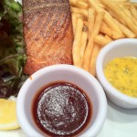 Salmon steak and fries