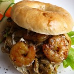 Shrimp and mushroom bagel